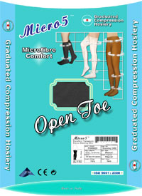 Medical Stockings: Micro5 Therapeutic Stayup Stocking CCL1 Open Toe (size 51Kb)
