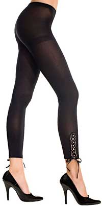 Fashion Pantyhose: Music Legs Opaque Leggings wih Laceup Sides (size 15Kb)