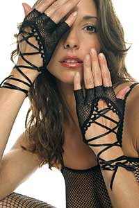 Gloves: Music Legs Fishnet Gloves with Lace up Tie (size 31Kb)