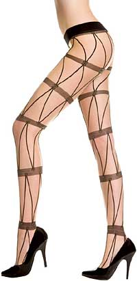 Fishnet Pantyhose: Music Legs Spandex Sheer Pantyhose With Faux Chain (size 28Kb)
