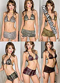 Brassiere: Music Legs Leopard Print Velvet Halter Bra And Short Set (size 53Kb)